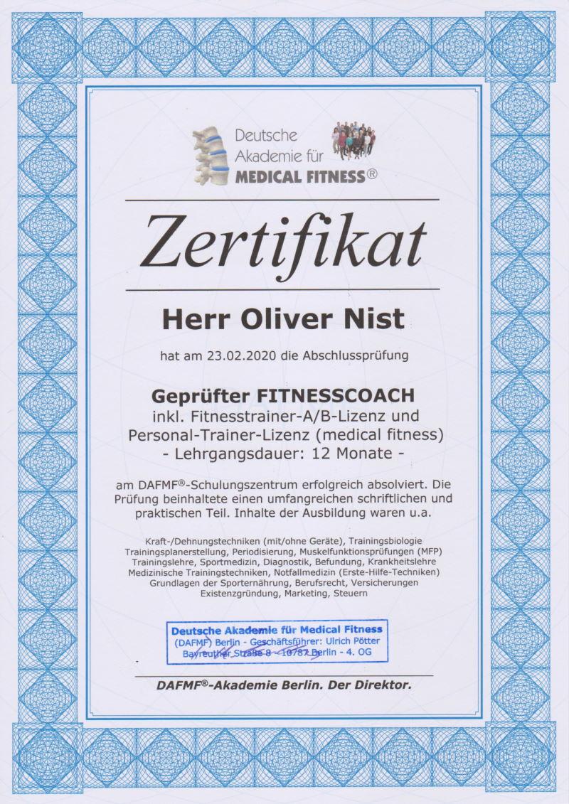 Oliver Nist - Personal Trainer Zertifikat der DAFMF Akademie